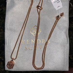 NWT rose gold drusy Teo necklace
